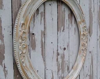 Gold and White Picture Frame, Antique Frame, Shabby Cottage, Paris Chic, Large Oval frame, Vintage frame, French Provincial, Wedding Frame