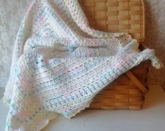 Baby Blanket, Crochet Blanket, Vintage Crochet Blanket, Multi Color blanket