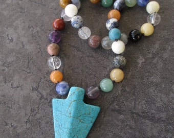 SALE Knotted arrowhead necklace - To the Point - multi colored semi precious stones southwestern boho by slashKnots slash knots