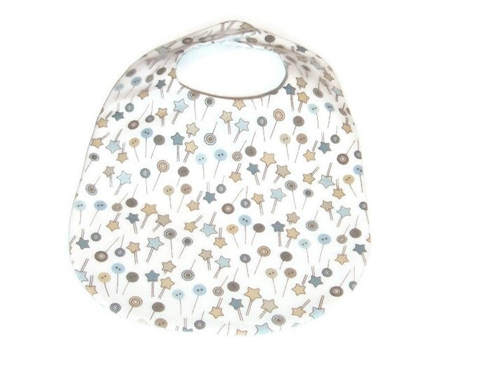Baby Boy Bib - Blue and Brown - New Baby Gift - Buttons & Stars on White - Baby Boy Gift Under 10