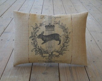 French Rabbit Burlap Pillow, Farmhouse Pillows , Shabby Chic, INSERT INCLUDED