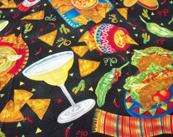 """Mexican Food Fabric Tacos Peppers New 14"""" long x 44"""" wide"""