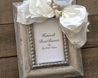 Christmas Frame Baby Child Bow Jewel Rustic Neutral Ivory Bling Personalize