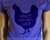 Purple Size Extra Large Crazy Chicken Lady Womens Fit  Shirt DISCONTINUED COLOR