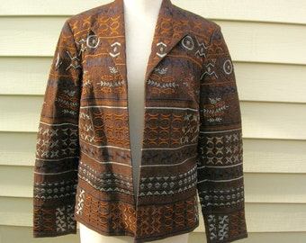 SUMMER SALE Gorgeous Coldwater Creek Jacket, dark brown with bronze & light blue embroidered accents, tiny beads, sz 8, never used