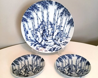 Asian Dinnerware / Asian Platter / Vintage Blue and White Dinnerware / Hollywood Regency / Vintage Asian Decor