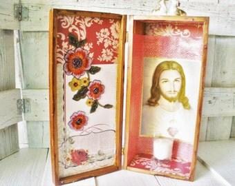 Vintage shrine prayer box natural rustic distressed wood Jesus Christ icon deer floral