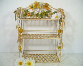 Wrought Iron Shelf Free Shipping Hanging Basket Weave Display Shelves Wrought Iron Applied Flowing Vines of Metal Leaves and Chalkware Fruit