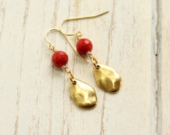 Red Coral and Gold Petal Drop Earrings on Gold Filled Hooks