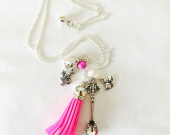 Alice in Wonderland themed Pink White Tea Spoon Teacup Tassel Cat Silver Plated Necklace Chain Afternoon Party Birthday Gift Unique for Her