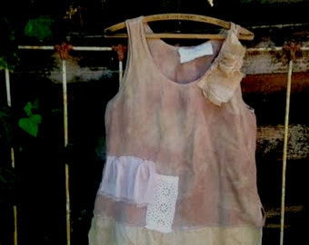 shabby anthropologie like boho gypsy tattery layer soft ecru gauzey rustic hip barn wedding princess eco babydoll tunic top summery farm