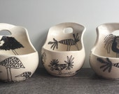 "3 Wall planters pot wall air plants Decorated ceramic wall planters (set of 3) mini pots 3"""