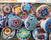 ON SALE 8 wooden drawer knobs; Talavera design  hand decorated (decoupaged)1 1/2 inches