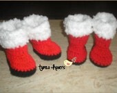 SALE: Crochet Santa Baby Boots   0-3, 3-6, 6-9, 9-12 months   Made to Order
