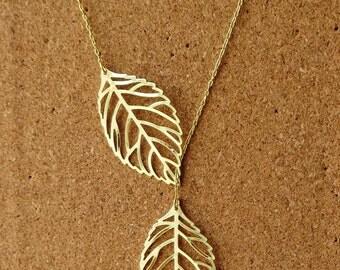 Goldtone or Antique Brass Leaf Lariat Necklace