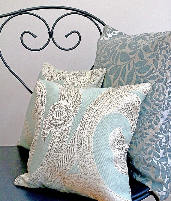 Aqua Paisley Cushion Home Decor
