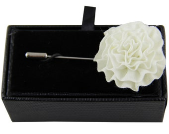 Men's lapel pin brooch chest off white flower for Formal Occasions