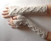 Soft Cashmere Fingerless Gloves Beige Knit Arm Warmers Women's Hand Warmers Wool Fingerless Mitts Wrist Warmers - KG0081 - Aimarro