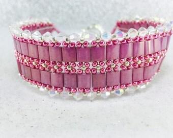 Tila Bracelet, Tila Beaded Bracelet, Tila Beadweave Bracelet, Pink Tila Bracelet, Tila Cuff Bracelet, Purple Tila Bracelet, Orchid