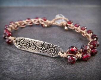 Ruby Red Crochet Bracelet, Bohemian dark, earthy, Boho Chic, Dainty, romantic,