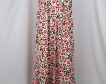"Womens Fine Craft Summer Lounger-Nightgown-Sleepwear-Day Dress-Pink Brown Floral-XL (42"" bust)"