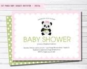 Panda Girl Baby Shower Digital Invitation