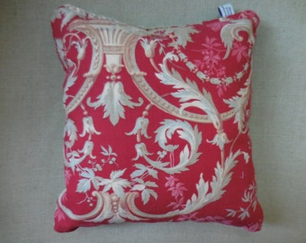 SALE  - Orig. 59.00   Beautiful Antique French Red Toile Pillow (#1321)