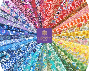 50 Liberty Tana Lawn fabric PIECES - each minimum 5'' x 5'' - RAINBOW - all different