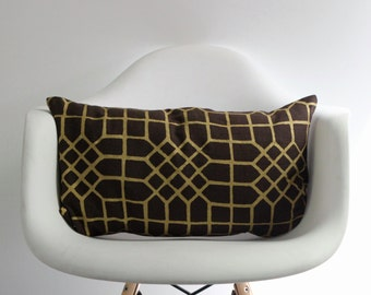 "Penn Grid 12x21"" pillow cover in metallic gold hand printed on brown organic hemp"