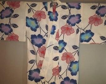 Japanese Cotton Kimono / Hand Stitched / Screen Print / Bold Design