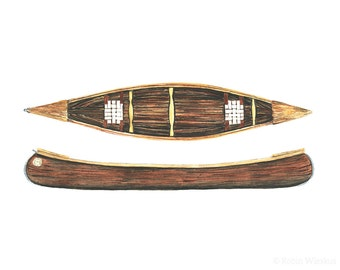 canoe art print - 8x10 inch archival print of wooden canoes