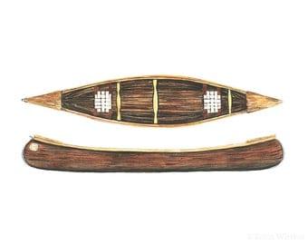 canoe art print - 8x10 inch archival print of wooden canoes