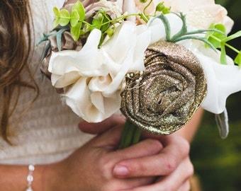 Mini Bouquet | Handmade | Alternative Bouquet | Gold | Heirloom Gift | Boho Chic | Bridesmaid Bouquet | Bridal Bouquet | Silk Wedding Flower