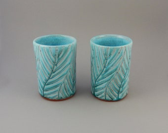 Ceramic Cups - Pair of Turquoise Tumblers - 14 oz. Drinking Glasses