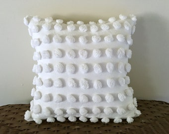 Decorative pillow cover SNOWBALLS cottage chic chenille white pillow cover, white pillow case, white shabby cushion cover,