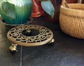 Ornate Brass Plant Stand on Casters Indoor Gardening Decor