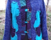 turquoise blue sparkly purple upcycled pixie wool cardigan jacket uk size 18 20