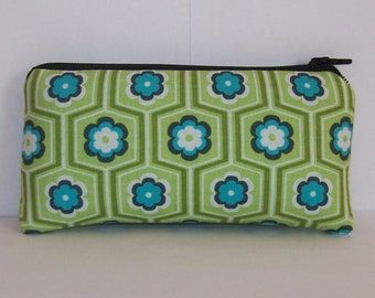 """Pipe Pouch, Blue Green Floral, Glass Pipe Case, Pipe Bag, Padded Zipper Bag, Padded Pipe Pouch, Stoner, Small Pouch, Smoke Bag - 5.5"""" SMALL"""