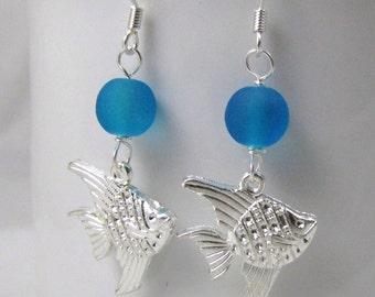 tropical fish earrings sea glass earrings beach glass silver sea creature fish charm