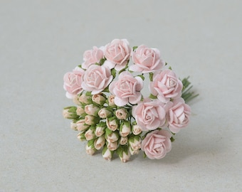 30   Pink  Paper Rose  Buds and Rose