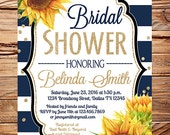 Sunflowers Bridal Shower Invitation flowers,Bridal Shower sunflowers, watercolor, navy white stripes, glitter confetti, 5382