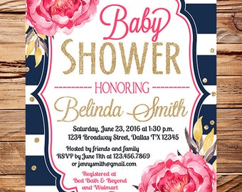 Girl Baby shower invitation, pink peonies baby shower invitation girl, pink, glitter, gold, navy white stripes, boy, girl,Baby Shower, 1700
