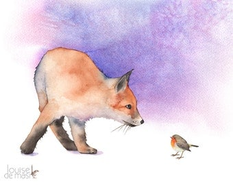 Fox print of watercolour painting, A3 size largest print, F8016, fox watercolor painting, fox and robin print, woodland animals print