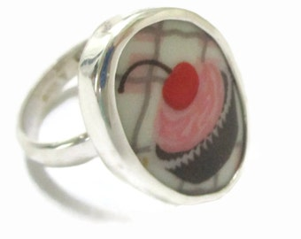 Broken China Jewelry, Cupcake Ring,  Sterling Silver . Food Jewelry,  Any Size,   Repurposed, Broken Plate , Gift for Baker