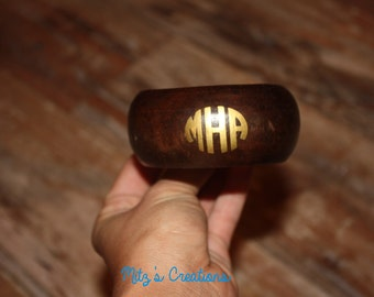 Wooden Bangle Bracelet with Monogram - Brown or Black - Pick Your Colors! Personalize it!