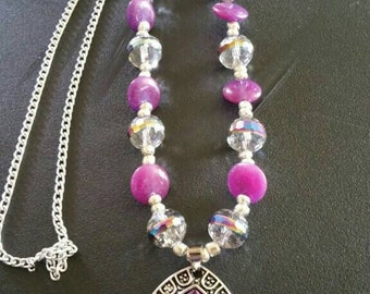 Purple hologram necklace with purple bling pendant
