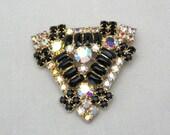 Vintage Rhinestone Brooch - Black Rhinestone Brooch - Rhinestone Jewelry