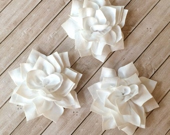 "White Fabric Flowers Soft Poinsettia Flowers 3"" - 7cm Kanzashi DIY Baby Headband Supplies Wholesale flowers embellishment applique Lotus"