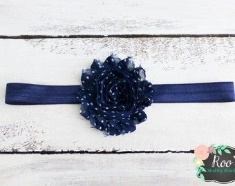 Navy & White Polka Dot Shabby Rosette Baby Toddler Girls Headband - Flower Headband - Shabby Chic Headband - Infant Headband