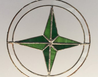 Stained Glass Compass Rose Sun Catcher